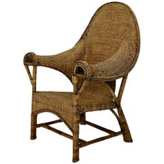 Arts & Crafts Vintage Wicker Rattan Armchair Dryad & Co Attributed circa 1910 UK