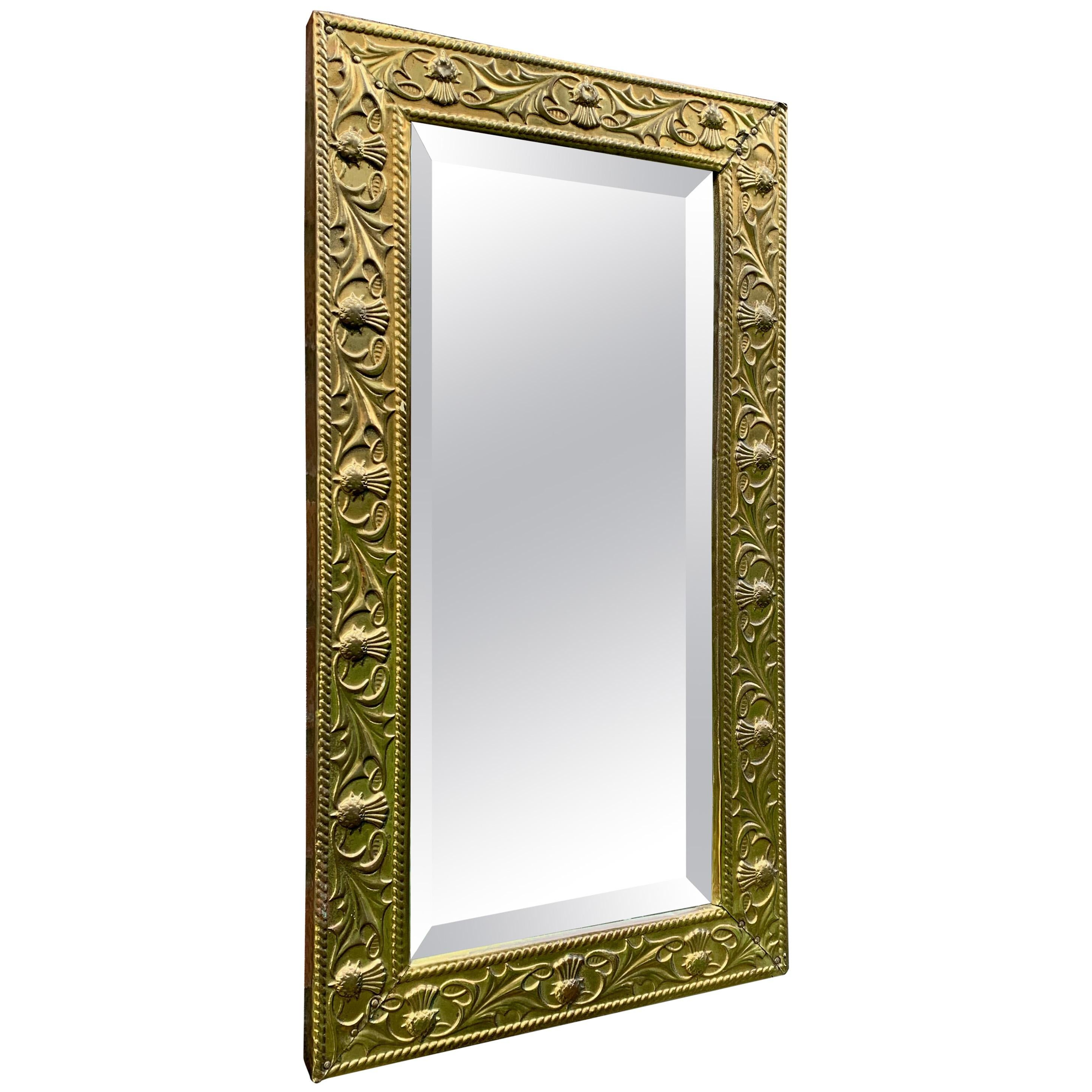 Arts & Crafts Wall Mirror with Stylized and Embossed Brass Thistle Flowers Frame