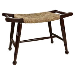 Arts & Crafts Wood and Straw Stool, Early 20th Century, United Kingdom