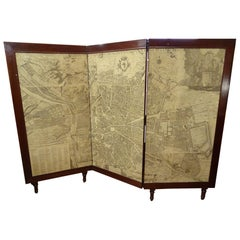Arts & Crafts Wooden Screen with Madrid Map Engraving