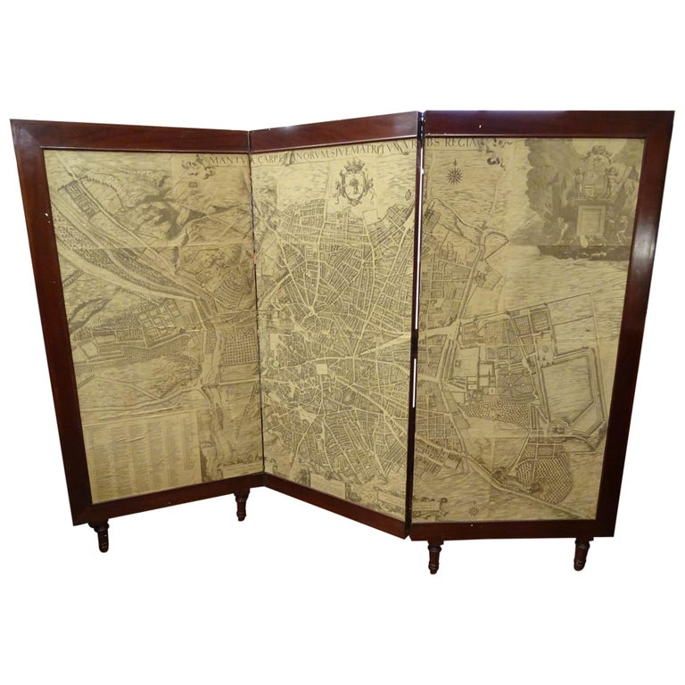 Arts & Crafts Wooden Screen with Madrid Map Engraving For Sale