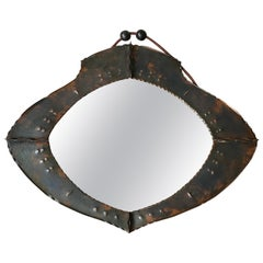 Arts & Crafts Workmanship, Organic Design Copper Wall Mirror of Practical Size