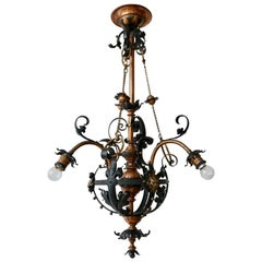 Arts & Crafts Wrought Iron and Copper Castle Chandelier with Bronze Lion Heads