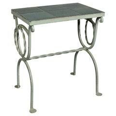 Arts & Crafts Wrought Iron and Tile Top Side table