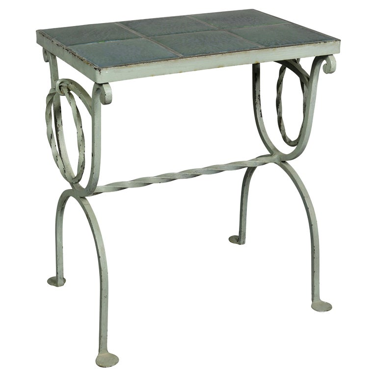 Arts & Crafts Wrought Iron and Tile Top Side table For Sale