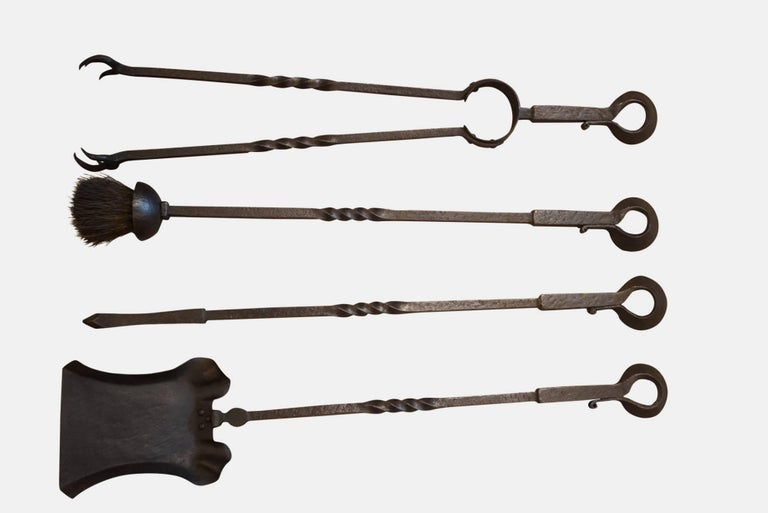 Arts & Crafts Wrought Iron Fire Irons, circa 1900 In Good Condition For Sale In Salisbury, GB