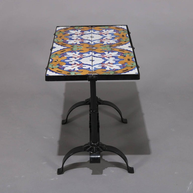 Arts & Crafts Yellin School Wrought Iron and Enameled California Tile Table For Sale 6