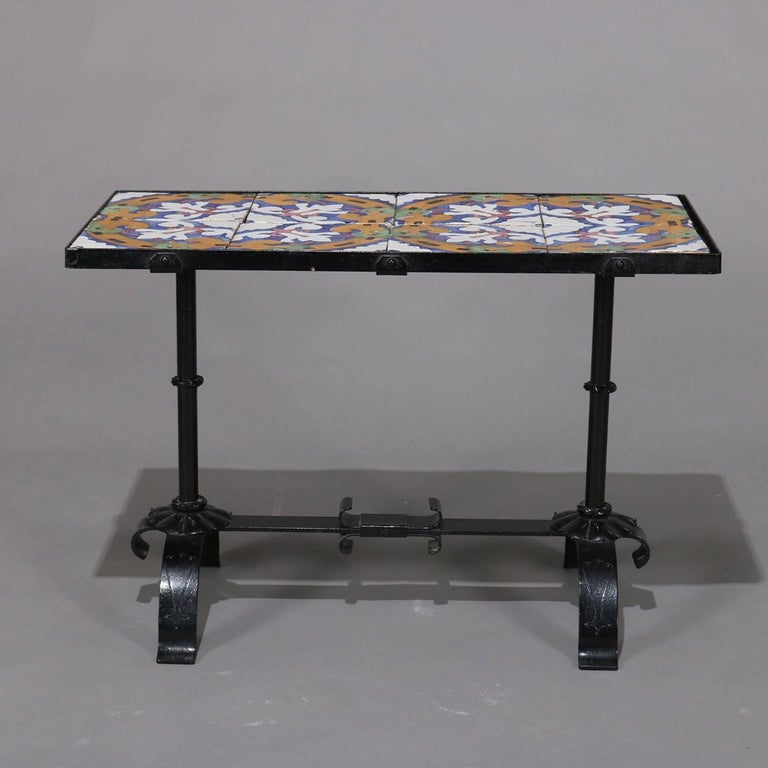 Arts & Crafts Yellin School Wrought Iron and Enameled California Tile Table For Sale 7