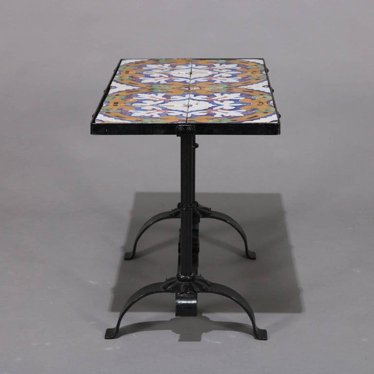 Arts & Crafts Yellin School Wrought Iron and Enameled California Tile Table For Sale 8