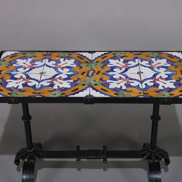 Arts and Crafts Arts & Crafts Yellin School Wrought Iron and Enameled California Tile Table For Sale