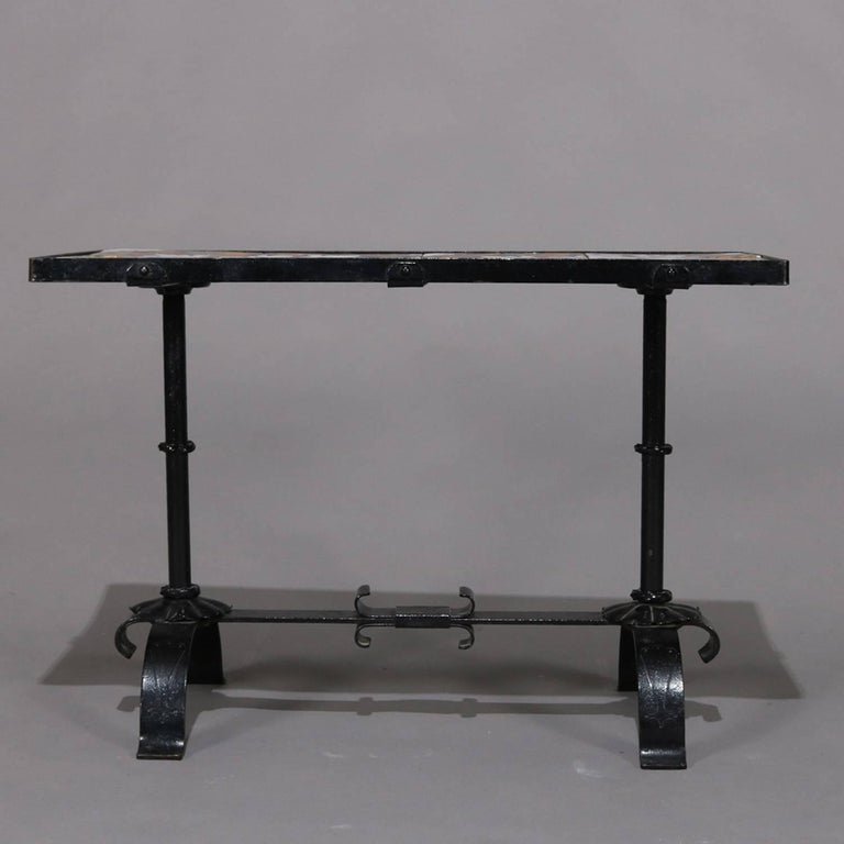 American Arts & Crafts Yellin School Wrought Iron and Enameled California Tile Table For Sale