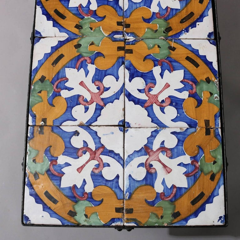 Arts & Crafts Yellin School Wrought Iron and Enameled California Tile Table In Good Condition For Sale In Big Flats, NY