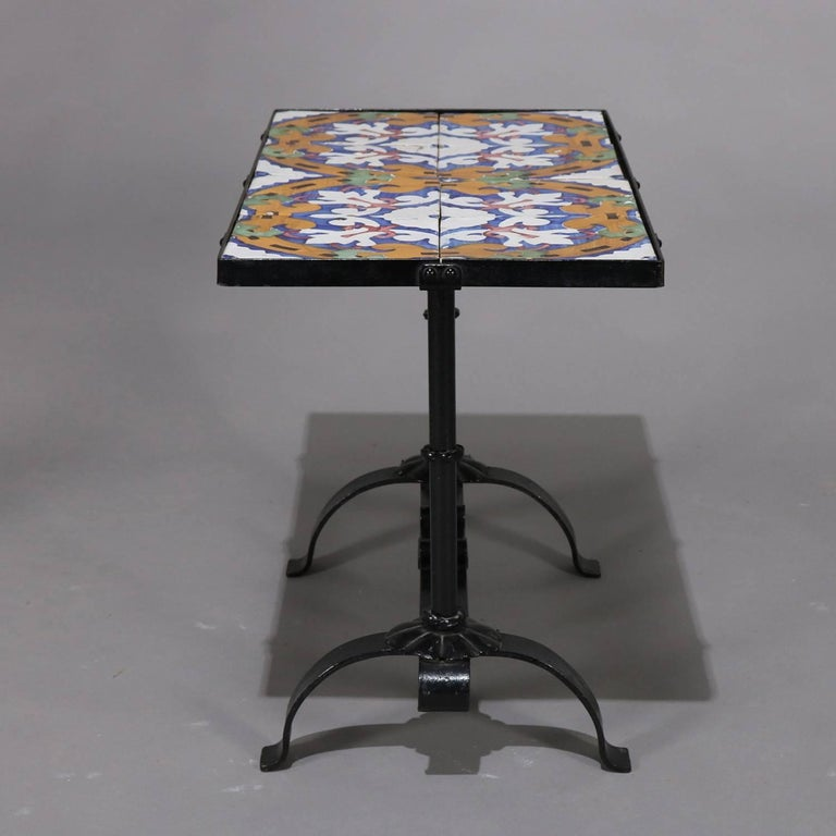 20th Century Arts & Crafts Yellin School Wrought Iron and Enameled California Tile Table For Sale