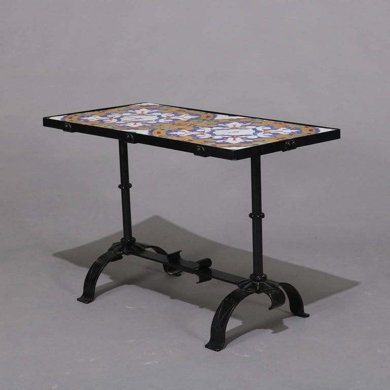 Arts & Crafts Yellin School Wrought Iron and Enameled California Tile Table For Sale 1