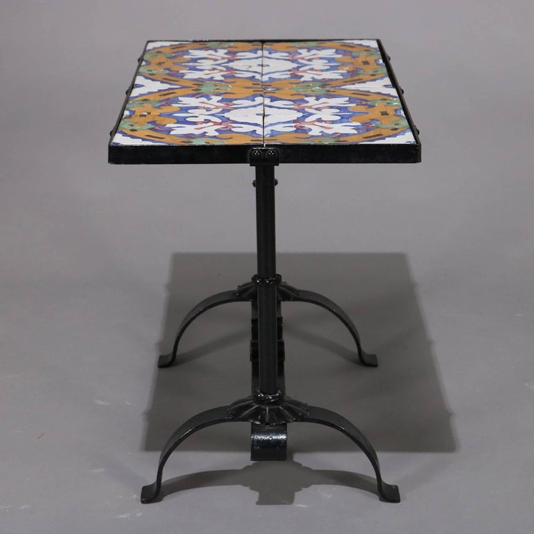 Arts & Crafts Yellin School Wrought Iron and Enameled California Tile Table For Sale 2