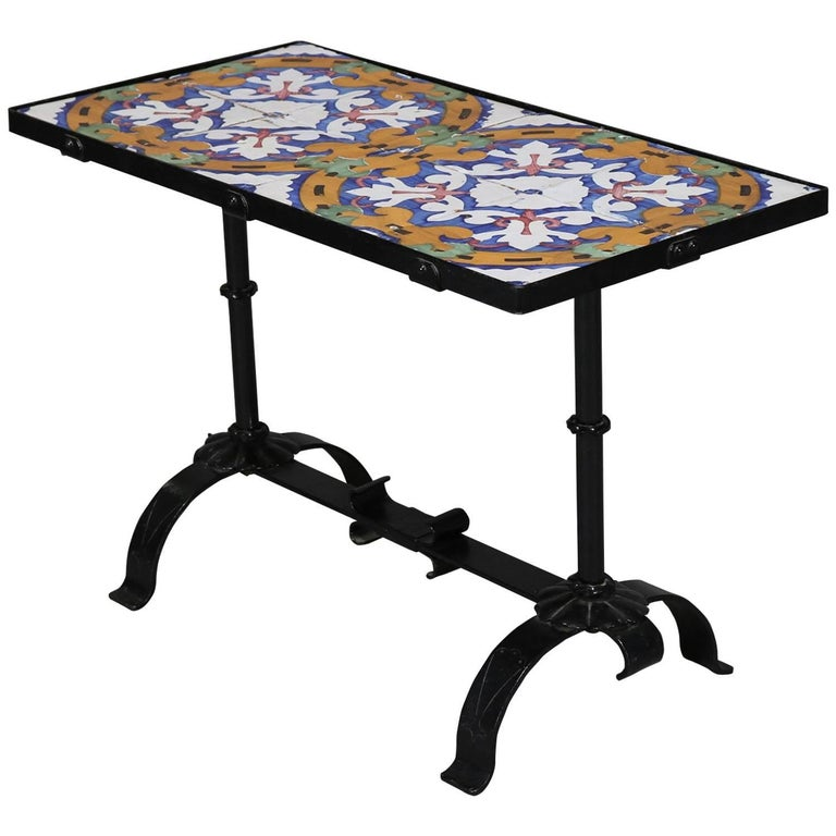 Arts & Crafts Yellin School Wrought Iron and Enameled California Tile Table For Sale