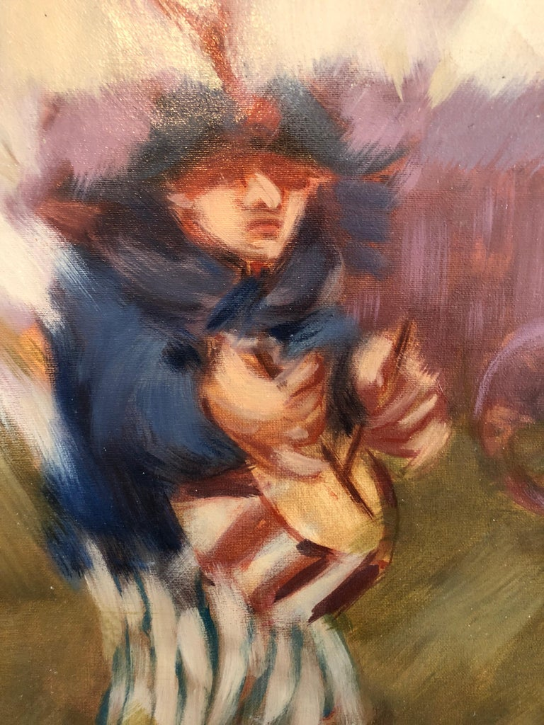 Spanish Catalan Modernist Oil Painting Drummer Boy Figurative Abstraction - Brown Figurative Painting by Artur Duch
