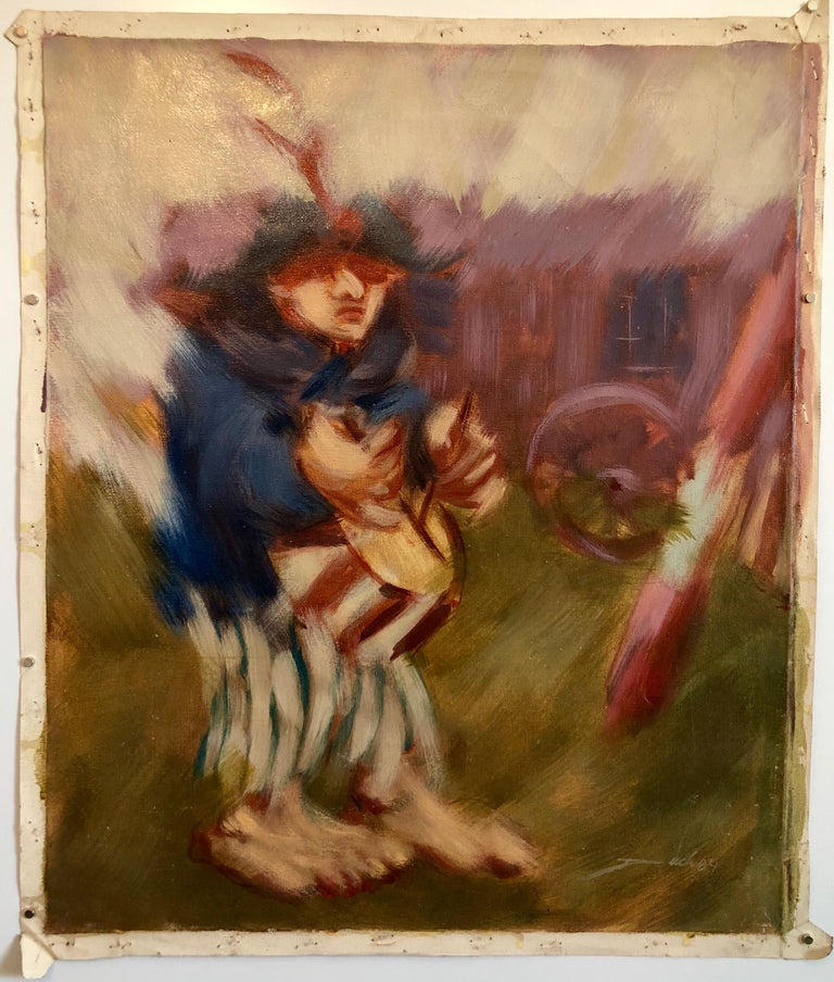 Spanish Catalan Modernist Oil Painting Drummer Boy Figurative Abstraction For Sale 1