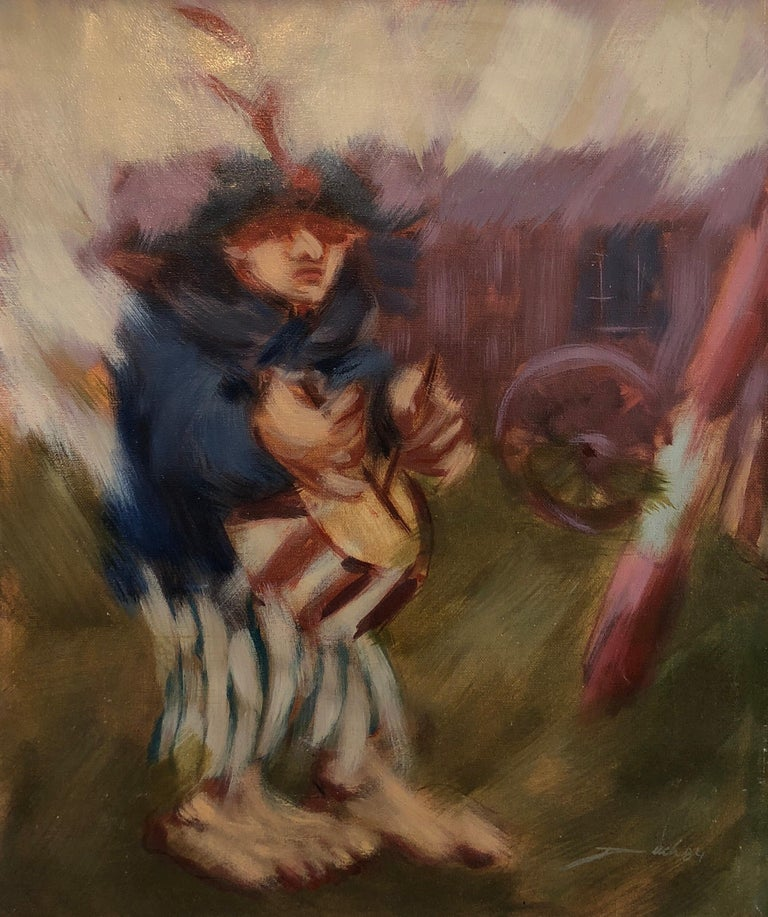 Spanish Catalan Modernist Oil Painting Drummer Boy Figurative Abstraction For Sale 2