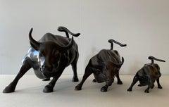Wall Street Bulls Bronze Sculptures (Set of 3)