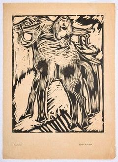Horsewoman - Original Woodcut Print by Arturo Martini - Early 20th Century