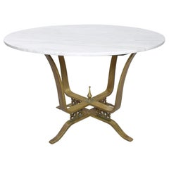 Arturo Pani Alluring Dining Table White Marble with Bronze Modern Mexico 1950s