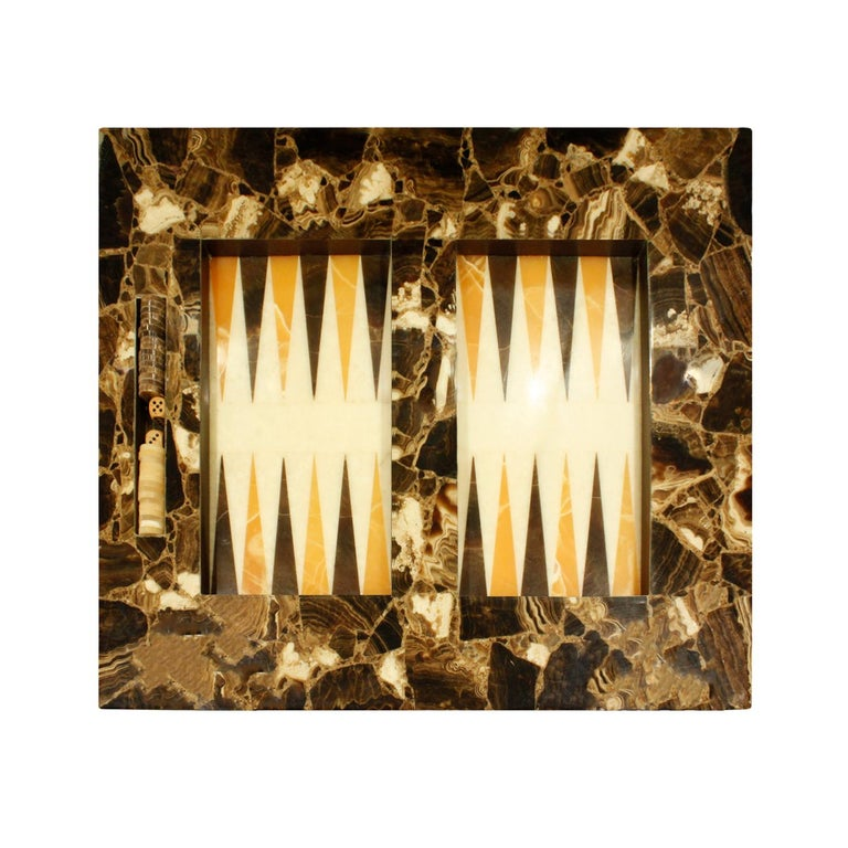 Mexican Arturo Pani Exceptional Backgammon Table in Onyx, 1960s