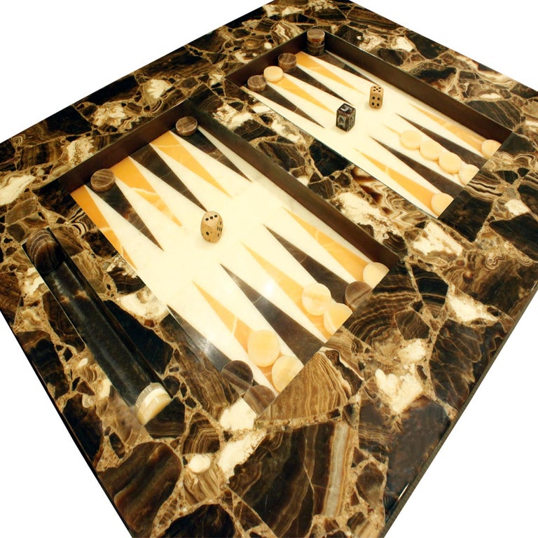 Hand-Crafted Arturo Pani Exceptional Backgammon Table in Onyx, 1960s
