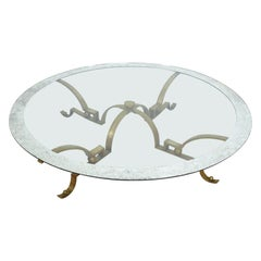 Arturo Pani Exceptional Brass Round Cocktail Table with Mosaic Glass Mexico 1950
