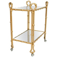 Arturo Pani Gilded Faux Bamboo Service Bar Cart Mexican Modern Regency, 1950s