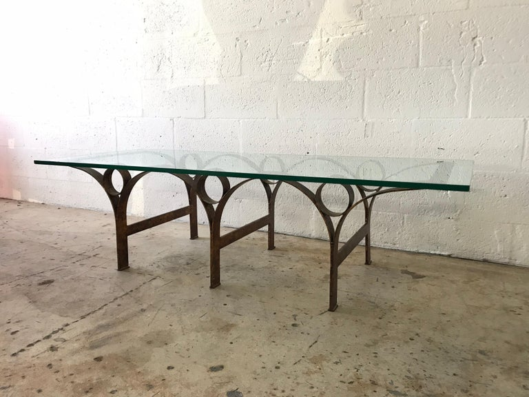 Mexican Arturo Pani Gilt Iron and Glass Coffee or Cocktail Table For Sale