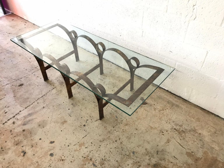 Arturo Pani Gilt Iron and Glass Coffee or Cocktail Table In Good Condition For Sale In Miami, FL