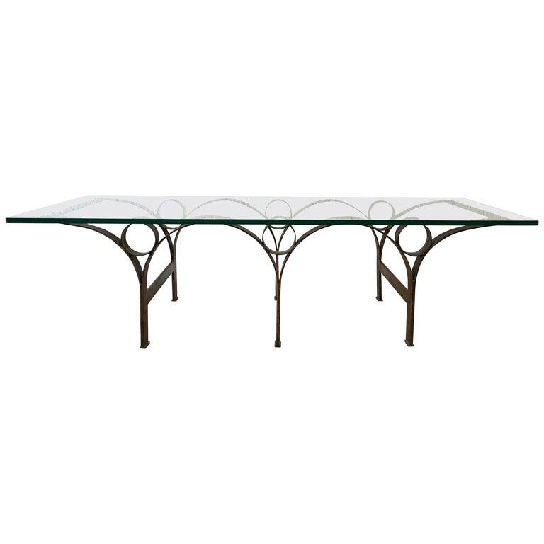 Arturo Pani Gilt Iron and Glass Coffee or Cocktail Table For Sale