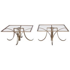 Arturo Pani Graceful Modernism Solid Brass Side Tables -1950s Mexico
