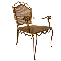 Arturo Pani Mexican Gilt Wrought Iron Armchair