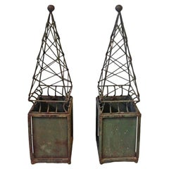 Arturo Pani Mexican Mid-Century Modern Pair of Iron Obelisks