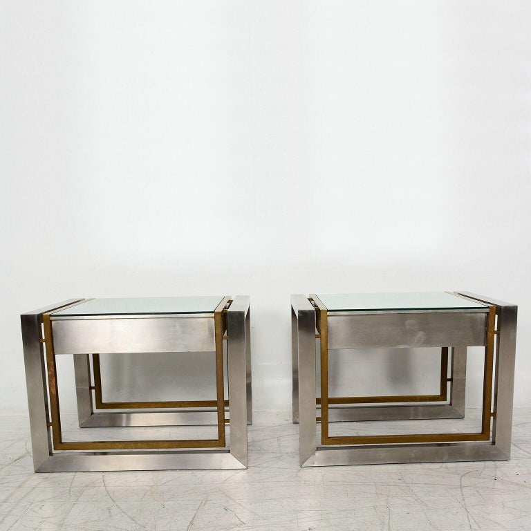 Mid-Century Modern Arturo Pani Mexican Modern Stainless Brass Side Tables, 1960s For Sale