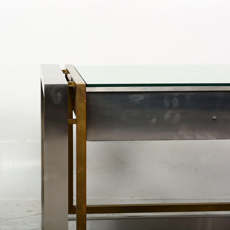 Arturo Pani Mexican Modern Stainless Brass Side Tables, 1960s In Good Condition For Sale In National City, CA
