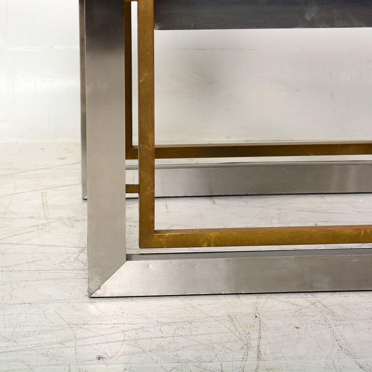 Mid-20th Century Arturo Pani Mexican Modern Stainless Brass Side Tables, 1960s For Sale