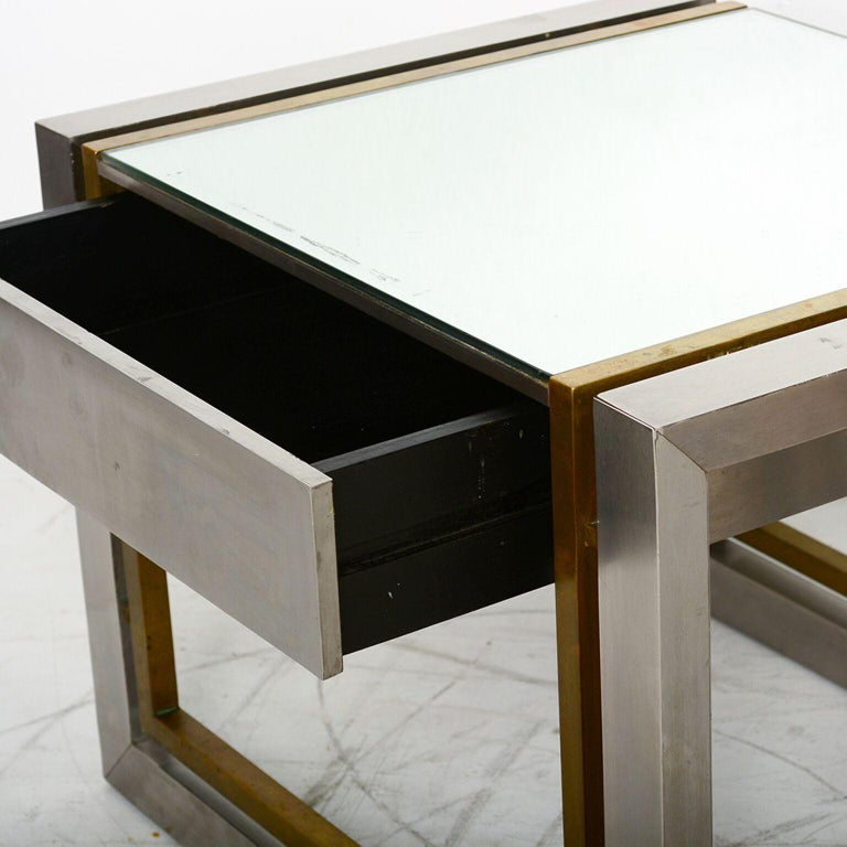 Arturo Pani Mexican Modern Stainless Brass Side Tables, 1960s For Sale 1