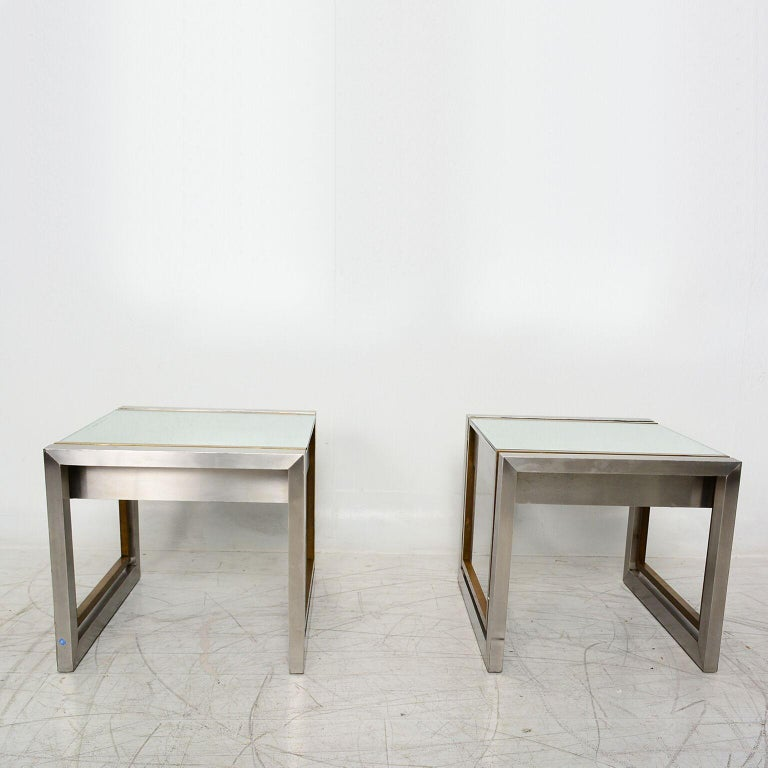 Arturo Pani Mexican Modern Stainless Brass Side Tables, 1960s For Sale 2
