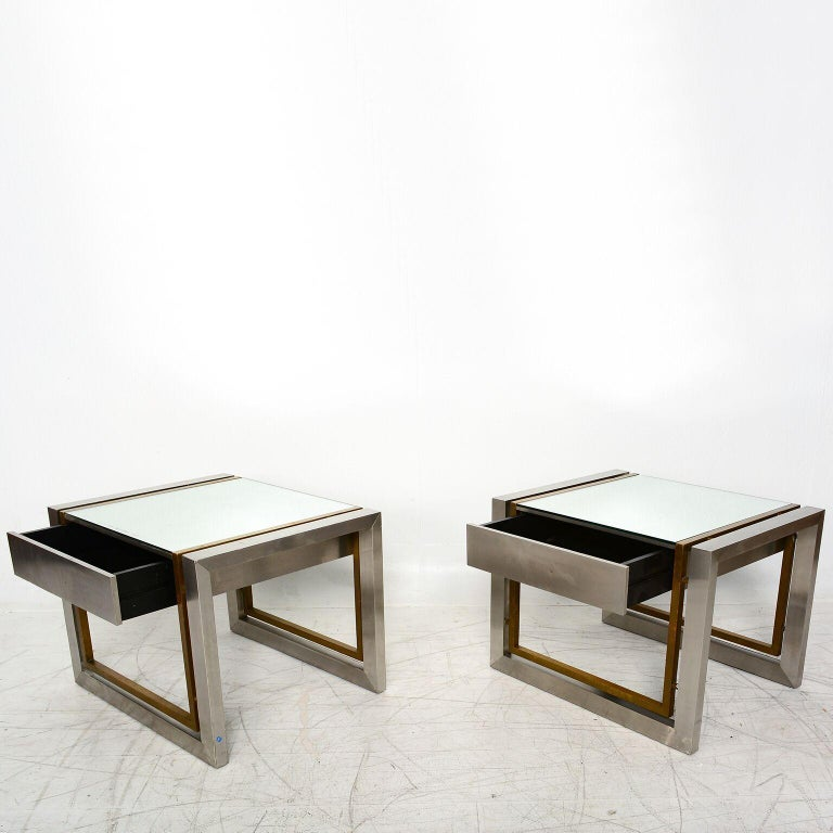 Arturo Pani Mexican Modern Stainless Brass Side Tables, 1960s For Sale 3