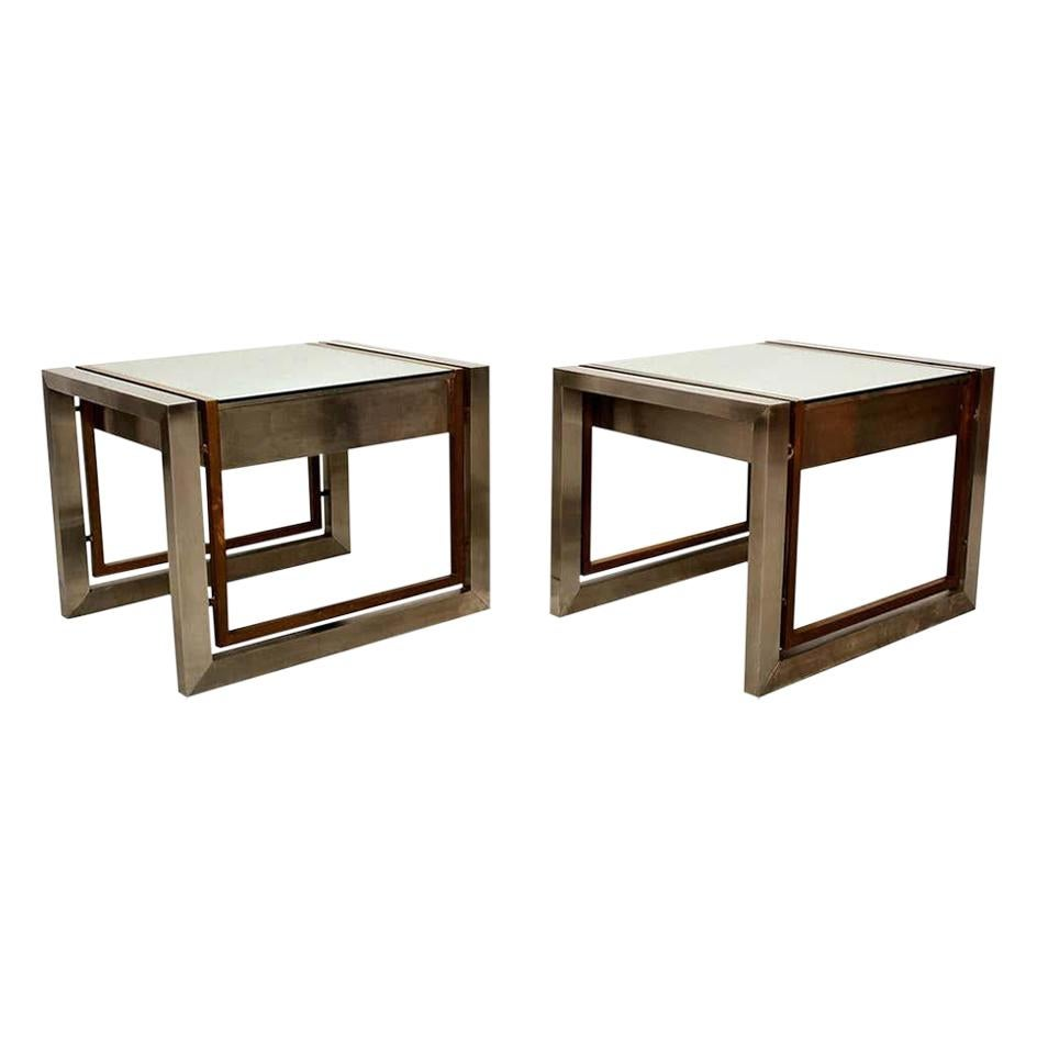 Arturo Pani Mexican Modern Stainless Brass Side Tables, 1960s