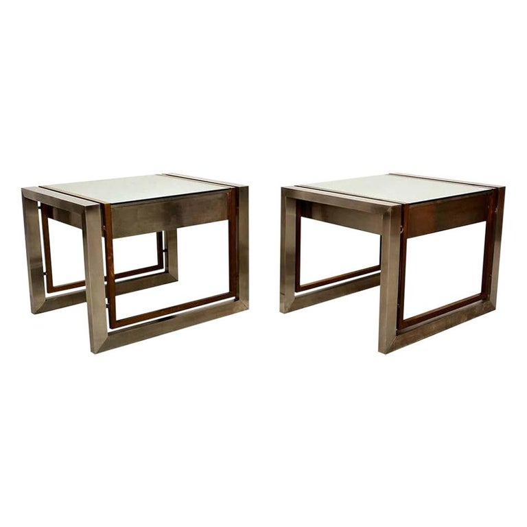 Arturo Pani Mexican Modern Stainless Brass Side Tables, 1960s For Sale