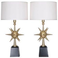 Arturo Pani Mid-Century Modern Sputnik Table Lamps in Brushed Bronze