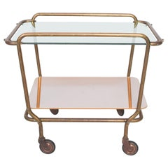 Arturo Pani Modern Mexican Brass Service Bar Trolley Cart, 1950s