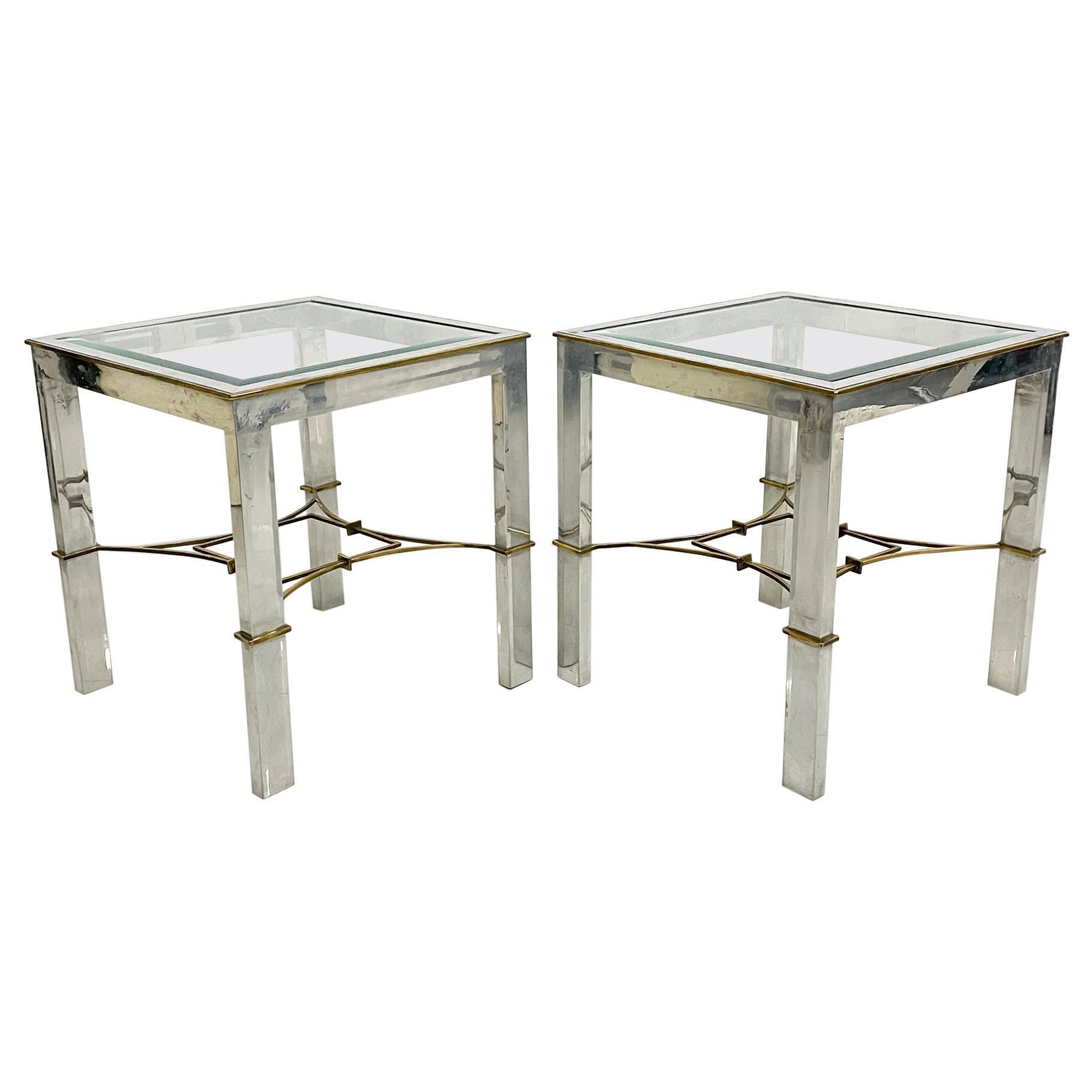 Arturo Pani Pair Side Tables Classic Modern Aluminum and Bronze