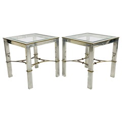 Arturo Pani Pair Side Tables Classic Modern Aluminum and Bronze