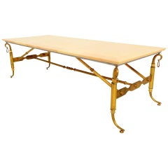 Arturo Pani Parchment and Brass Coffee Table Hollywood Regency