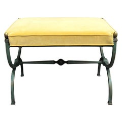 Arturo Pani Patinated Steel Stool with Yellow Upholstery
